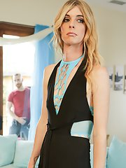 MILF TS babe Mandy Mitchell is annoyed to discover her plumber has been spying on