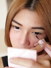 19 year old Thai ladyboy gets made up for her date and a facial from her tourist