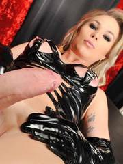 Nikolly turns on while trampling with her high hells through the back of her slave
