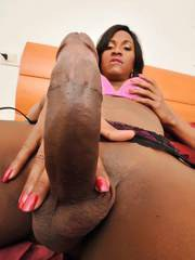 In here you will watch black tranny Debora Vasques having hardcore anal sex with