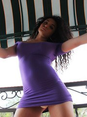 Lovely Brunette Doll KEIRA VERGA in tight purple dress outdoors